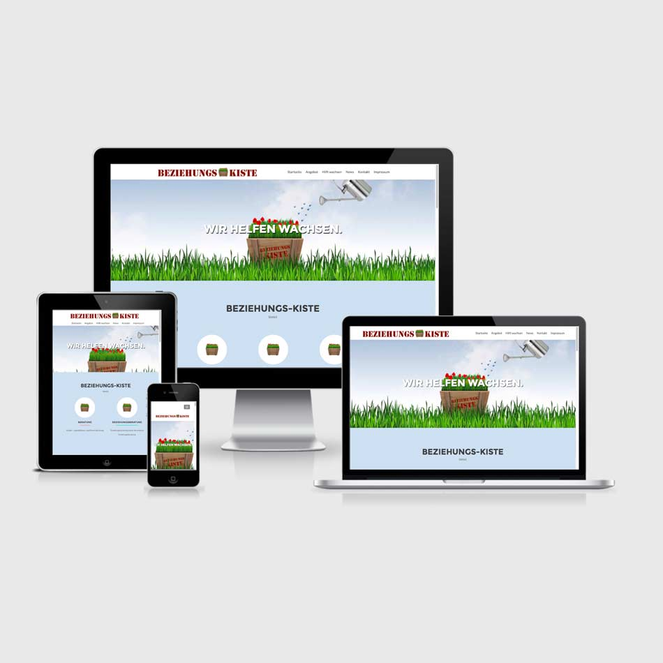 Beziehungs-Kiste-Webdesign